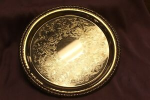 Vintage Wm Rogers 870 Silver Etched Serving Tray Platter Braided Rope Edge