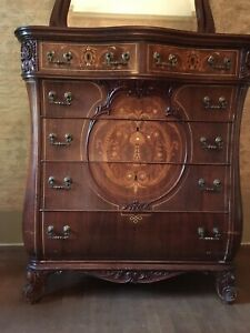 Antique Serpentine Front Dresser And Vanity Table With Inlaid Mother Of Pearl