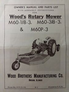 Woods Three Point Hitch Rotary Mower M60 1 8 3 3 8 3 M60p 3 Owner Parts Manual
