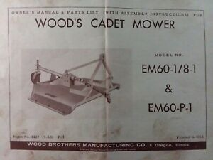 Woods Cadet 3 Point Hitch Rotary Mower Em60 1 8 1 Em60 p 1 Owner Parts Manual