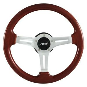 Pilot Sw 805 3 Spoke Classic Vintage Style Mahogany Wood Steering Wheel