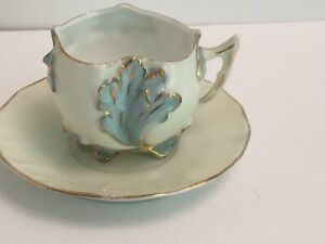 Antique Hand Painted Eggshell Porcelain Footed Demitasse Cup Saucer Unsigned
