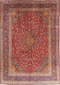 Vintage Traditional Red Floral Persian Oriental Area Rug Hand Knotted Wool 9x13