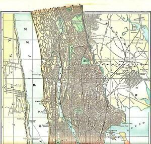 1886 Northern Section Of New York City Color Antique Atlas Map 133 Years Old