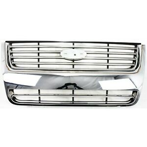 Grille For 2006 2010 Ford Explorer Chrome Shell W Blac