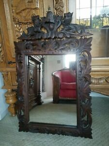 Unique Antique Ornate Carved Lions Oak French Victorian Wall Mirror C 1890s 38