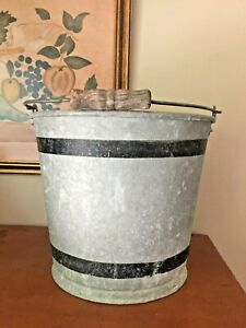 Vintage Galvanized Metal Bucket Chore Pail Primitive Farmhouse Flower Planter