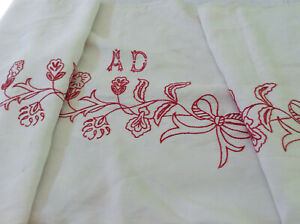 Antique French Redwork Embroidery Hand Stitched Bows Monogram Ad Linen Fabric