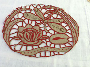 Antique French Redwork Embroidery On Linen Fabric Dragonfly Lilipad