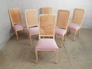 Set Of 6 French Vintage Style Cane Back Whitewashed Reupholstered Dining Chairs
