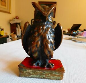 Vintage Original Bronze Bookend Wise Owl By Marion Bronze Co