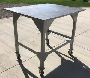 Welding Table Work Bench Steel 40x48x41 5 Tall 3 4 Thick Top Plate On Casters