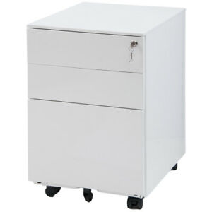 Modernluxe Mobile Metal Lockable 3 Drawer File Cabinet Document Cabinet With 5