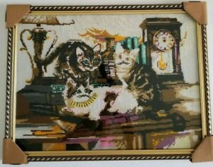 Large Framed Cross Stitch Cat Embroidered Picture Kittens Hand Made Cute