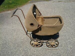 Early Antique Wicker Baby Carriage