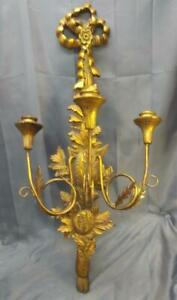 Old Vintage Large Gold Wood Wooden Wall Italian Candle Sconce Wrought Iron Italy