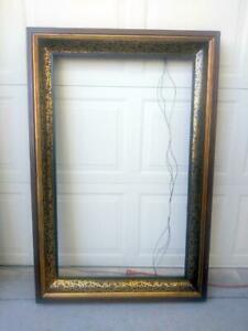 Large Antique Old Wood Wooden Picture Frame Lemon Gilt American Oil Painting Art