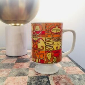 Vintage Red Orange Yellow Tea Cup Mug W Zodiac Signs Made In Japan 70s Retro