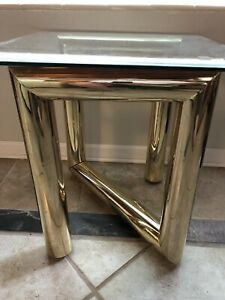 Vtg Karl Springer Tubular Metal Brass Z Side Table Glass Top Mcm Modernist