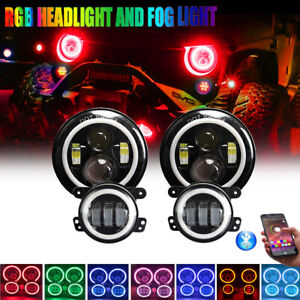 7 Inch Rgb Led Halo Headlights Fog Lights Bluetooth App For Jeep Wrangler Jk