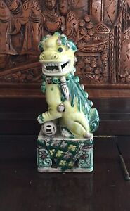 Chinese Yellow Color Glaze Ceramic Fengshui Foo Dog Figure
