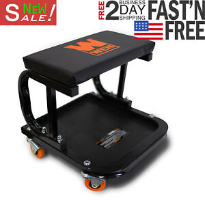 Rolling Mechanic Seat Garage Tool Box Creeper Chair Work Stool Storage Cart Shop