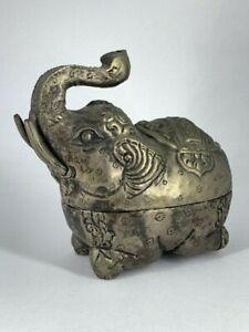 Sterling Silver Elephant Box India Antique Rare 925 Circa 1900 Engraved Etched