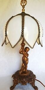 Antique Bronze Spelter Cherub Lamp W Tulip Slag Glass Shade French Style Beauty