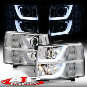 Chrome Led Drl Tube Projector Headlights Lamp For 2007 2013 Chevy Silverado 1500
