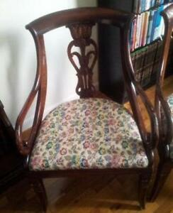 Mahogany Vintage Italian Dining Chairs With Floral Upholstery 2 Avail