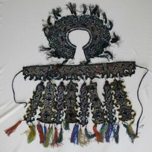 Old Tribal Exotic Chinese Dong People Hand Embroidery Costume Collar Skirt 1set