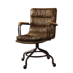 Executive Office Leather Chair Tufted Top Grain Brown Swivel Armchair Modern