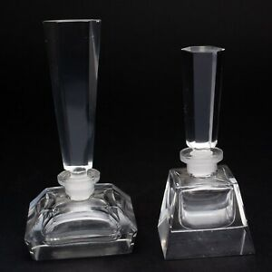 Set Of 2 Antique Clear Cut Glass Perfume Bottles W Stoppers Art Deco Czech 4 5