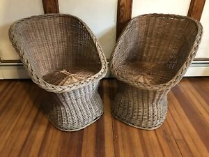Pair 2 Vintage Wicker Rattan Egg Chairs Pod Scoop Mid Century