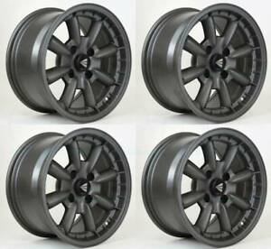 15x7 Enkei Compe 4x100 38 Gunmetal Paint Wheels Rims Set 4