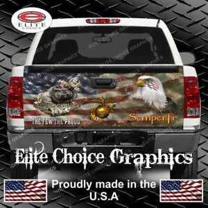 Marine Dog Military Flag Camo Truck Tailgate Wrap Vinyl Graphic Decal Wrap