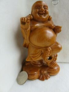 Chinese Wood Carving Happy Buddha Statue 6 High Light Color Stain