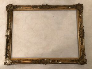 Huge Large Antique 19th Century European Style Baroque Gold Picture Frame