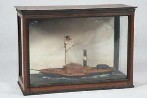 Antique Encased Model Ship Diorama American Sidewheeler Steamship Maritime