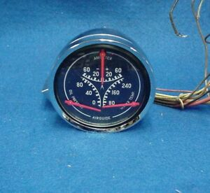 Vintage Airguide Oil Pressure Ammeter Water Temp Gauge Day 2 Rot Hot Rod Chevy