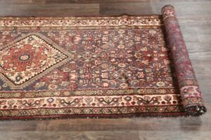 Vintage 14 Ft Long Runner Hamedan Persian Oriental Wool Rug 13 7 X 3 8