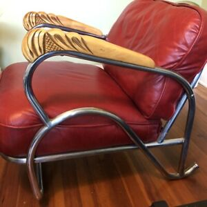Art Deco Antique Red Leather Chrome Chair Carved Wooden Armrests Machine Age