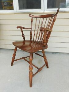 Vtg Buy 1 Tor 2 Pennsylvania House Cherry Brace Back Windsor Arm Dining Chairs