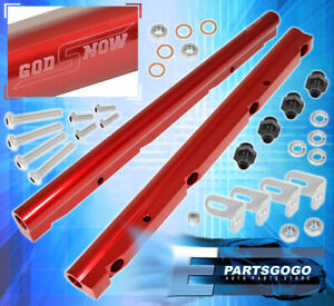 Gm Ls1 Ls6 Billet Aluminum Engine Intake Fuel Rail Injection Delivery Kit Red