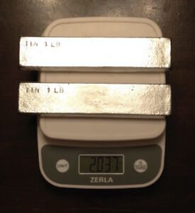 Tin Metal Ingot 99 Pure 2 Pounds Total In 2 One Pound Bars