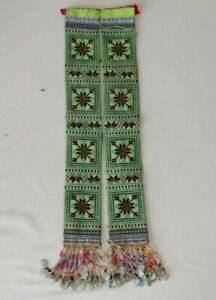 Old Chinese Minority People S Hand Cross Embroidery Costume Waistbelt Tassels