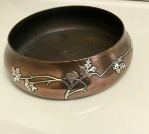 Antique Heintz Art Metal Sterling Silver On Bronze Bowl