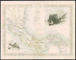 1850 Illustrated Original Antique Map Isthmus Of Panama By Tallis 164d