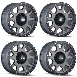 15x8 Ion 135 5x4 75 5x120 65 20 Matte Gunmetal Wheels Rims Set 4