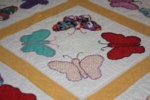 Cute Vintage Hand Stitched Butterfly Applique Lap Quilt Piece 54 X 56 Feed Sack